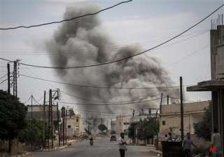 syrian fighter jets bomb rebel held areas in...