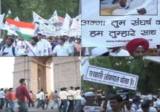 anna hazare s supporters stage demos in delhi...