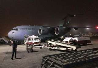 iaf aircraft with 225 indians evacuated from...