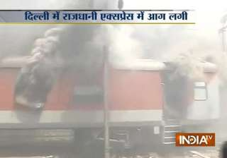 major fire engulfs 2 rajdhani trains at new delhi...