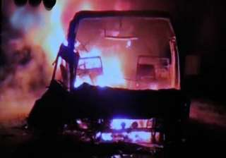 live reporting hyderabad bound bus catches fire...
