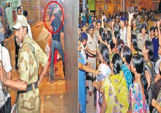 mahila congress supporters stage protest against...