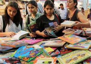 school children line up for delhi book fair -...