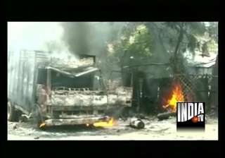 stoning arson in up town after customer s scuffle...