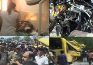 12 haryana students killed in bus truck collision...