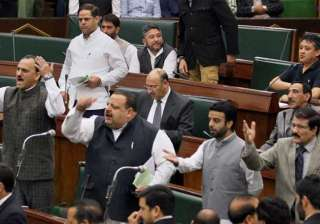 bjp protests in j k assembly over yesterday s...