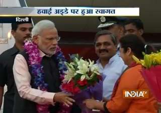 pm modi returns after concluding successful three...