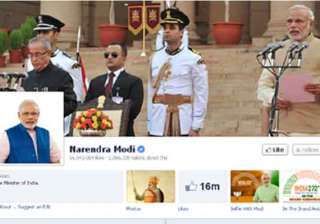 pmo india facebook page gets over million likes...