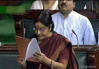 sushma calls for support for women s reservation...