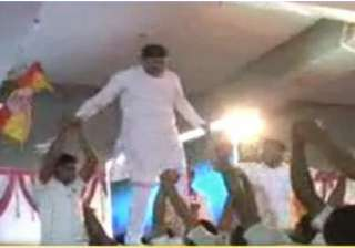 video shows bjp ls candidate walking on backs of...