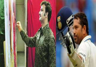 a man with a brush to paint sachin s wish on...