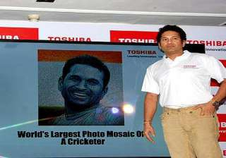 large digital photo mosaic of sachin tendulkar...