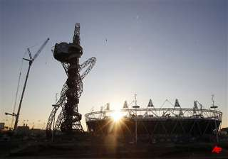 london s olympic orbit towers gets decked in...