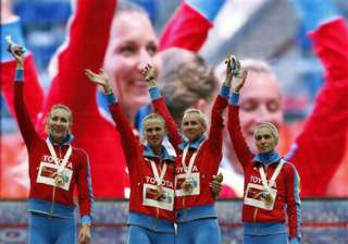 russian female runners kisses not a protest -...