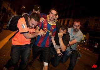 barcelona soccer celebrations turn violent -...