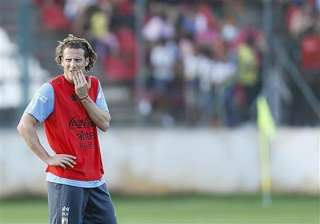 fifa world cup diego forlan starts up front for...