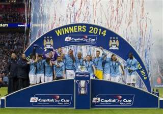 man city beats sunderland 3 1 in league cup final...