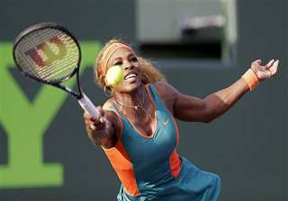 serena williams wins opening match at sony open....