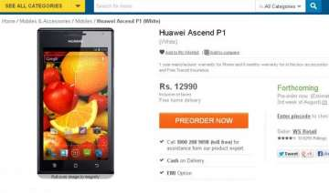 dual core huawei ascend p1 listed online at rs....