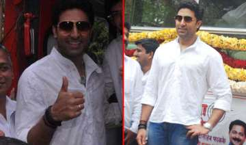 abhishek bachchan spotted in flags off ceremony...