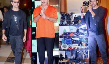 hrithik and rakesh roshan at the launch of krrish...
