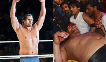 watch khali gets injured during sporting event...