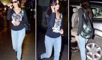 katrina kaif returns from sister s marriage...