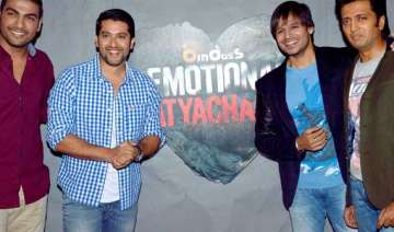 ritesh aftab and vivek on the sets of emotional...