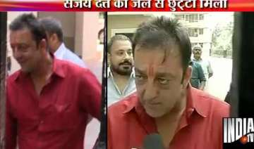sanjay dutt out of yerawada jail for 14 days on...