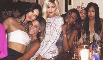 kylie jenner sports blonde wig for birthday party...