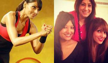 bipasha basu coaxes her mother and sister to...