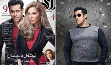 salman khan covers dubai magazine ara with nicole...