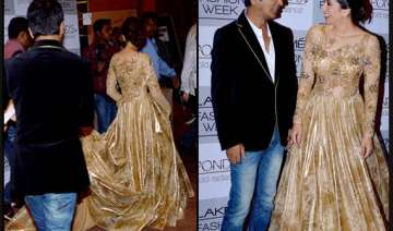 karisma dazzles in gold for vikram phadnis at lfw...