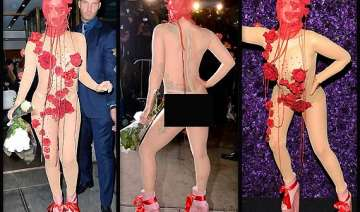 lady gaga dons a sheer nude dress for her 28th...