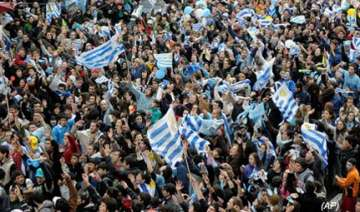 celebrations in montevideo as uruguay reach...