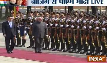 pm modi accorded ceremonial welcome at great hall...