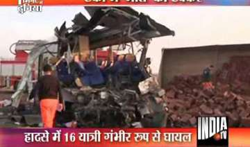 passenger bus collides with truck killing 25...