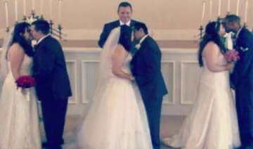 three sisters hold joint wedding for dying mother...