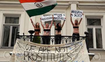 topless protest in ukraine against indian embassy...