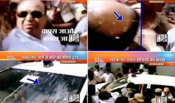 andhra home minister s supporters throw rotten...