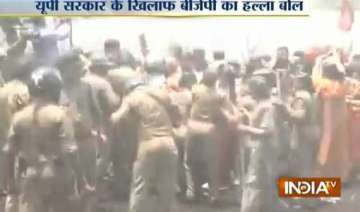 badaun gang rape protest water cannons used...
