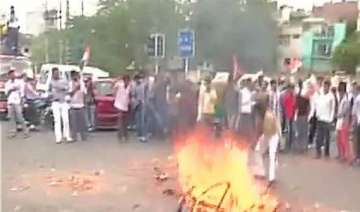 congress protests over power water crisis burns...