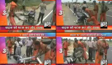 enraged kawarias smash motorbike in meerut -...