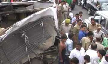 five dead 8 injured in bus vehicle collision in...