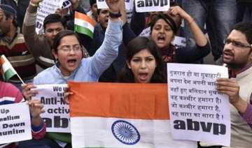 abvp holds march to denounce anti nationals -...