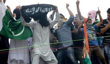 youths wave pakistan is flags clashes with police...