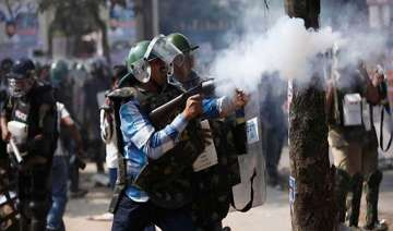 police fire teargas at united andhra pradesh...
