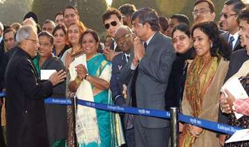 president pranab mukherjee mingles with guests at...