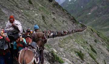 third batch of pilgrims leave for amarnath from...