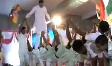 video of rajkot bjp candidate walking on school...